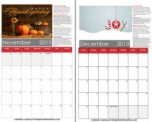 Simple Holiday Survival Calendar Printable