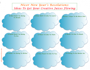 Make a resolution to be nicer to yourself when it comes to your resolutions! Use this Printable worksheet to get your creative juices flowing!