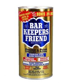 Bar Keepers Friend, the key to removing dark marks from dishes!