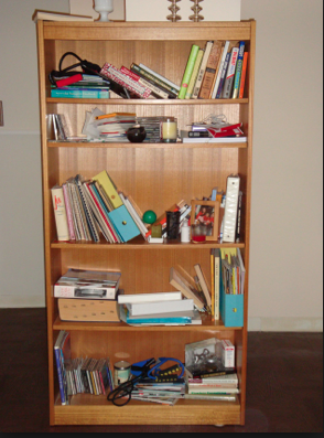 Before Shot of Disorganized Bookshelf (Photo: GothamOrganizers.com)