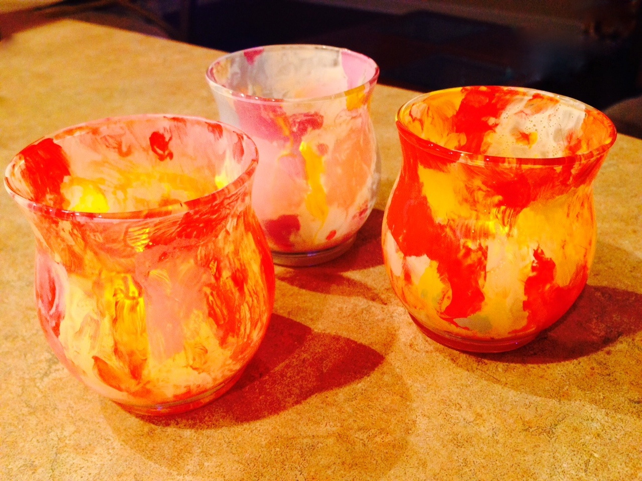 "Spring ""Impressionist"" Votives from SimpleSolutionsDiva.com."