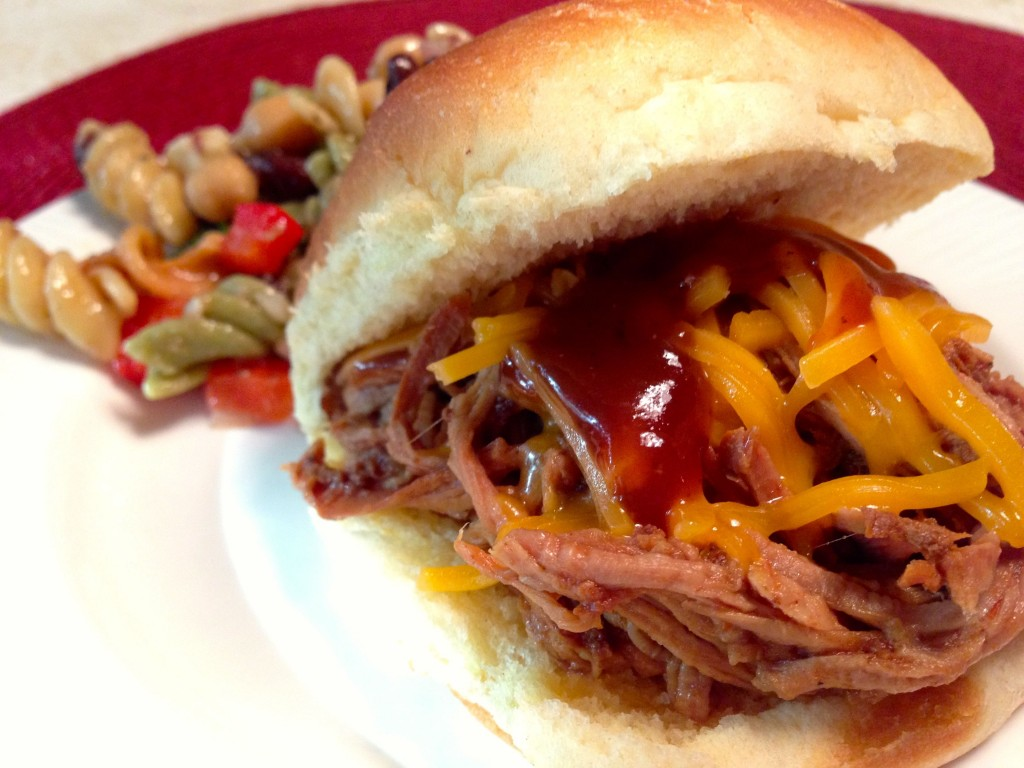 Slow Cooker BBQ Cola Pulled Pork, from SimpleSolutionsDiva.com.