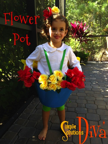 Dollar Tree Flower Pot Costume by SimpleSolutionsDiva.com. Total Cost: $9