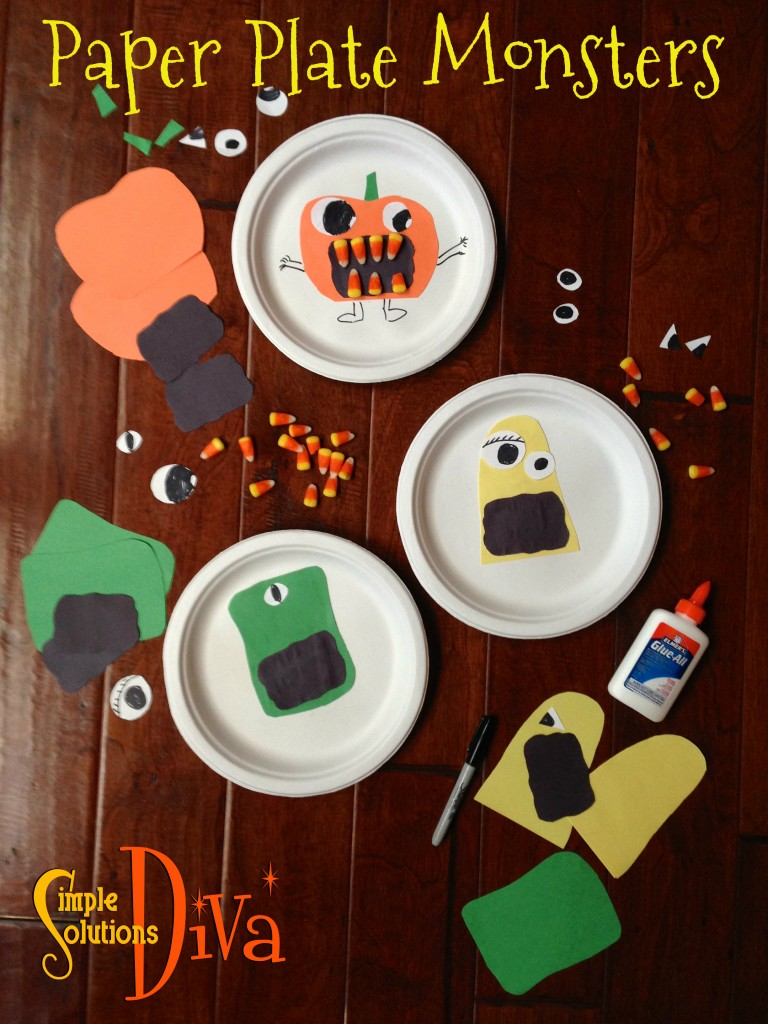 Halloween Paper Plate Monsters from SimpleSolutionsDiva.com.
