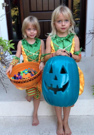 Sadie And Josie showing off their Teal Pumpkin Project!
