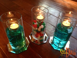 Contemporary Centerpiece Using Glass Votives, Glass Vases, and Votives From Dollar Tree.
