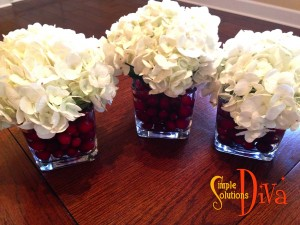 Traditional Centerpiece Using Dollar Tree Glass Candleholders.