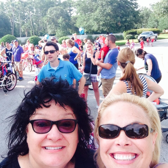My partner in crime, Pegine and I, celebrating at last year's Neighborhood Independence Day Bike Parade we established 15 years ago!